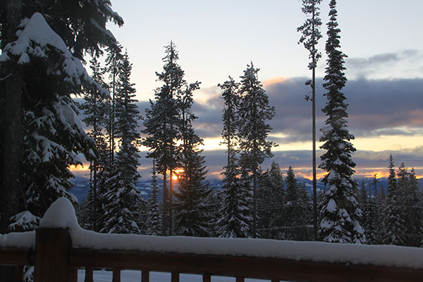 Enjoy the views of the Monashee Mountains while soaking in the hot tub
